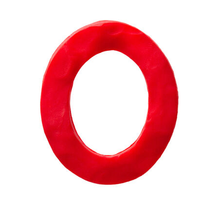 Plasticine letter O isolated on a white background