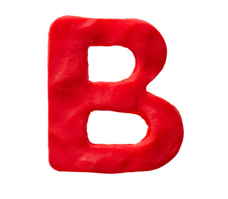 Plasticine letter B isolated on a white background