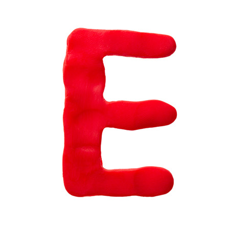 Plasticine letter E isolated on a white background Stock Photo