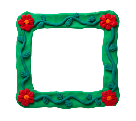 implosion: Plasticine frame isolated on a white background