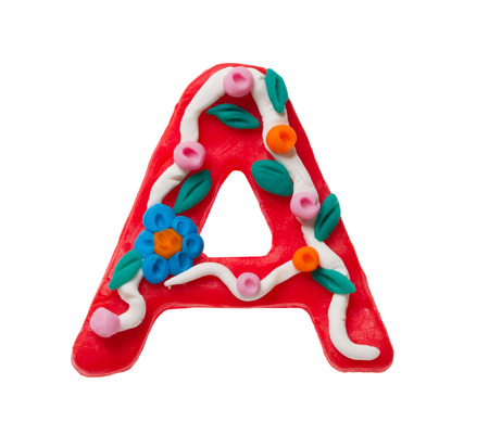 Colorful plasticine letter A isolated on a white background