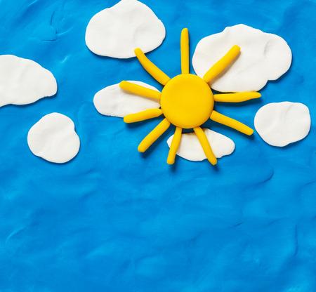 plasticine: Sky and the sun. Made from plasticine