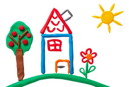 small house: Small house and the sun. It is made of plasticine.