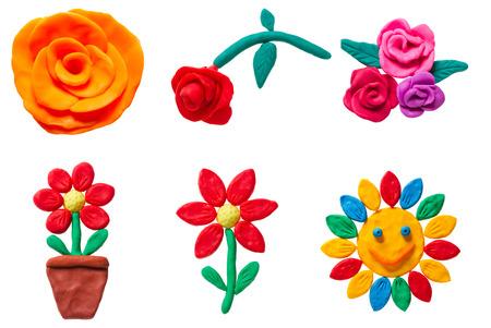 Set of plasticine flower Stock Photo