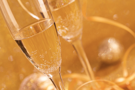 Pair glass of champagne. New year celebration or wedding concept theme