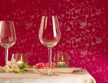 responsibly: Twoo empty wine glasses on table