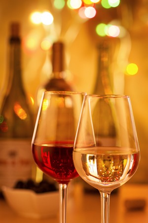 drink responsibly: Glasses of red and white wine Stock Photo
