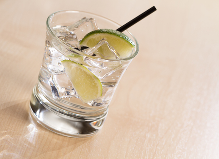 bleb: Cocktail with ice and limen Stock Photo
