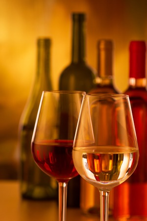responsibly: Glasses of red and white wine Stock Photo