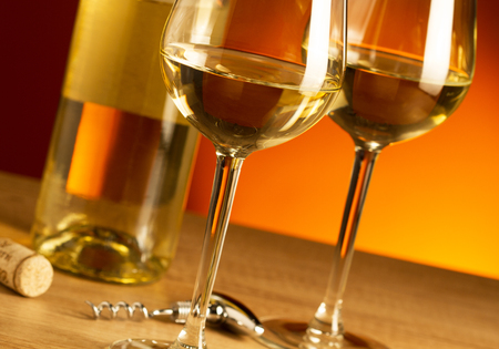 Two glasses with white wine Stock Photo
