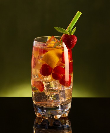 Cold fresh lemonade drink with strawberry Stock Photo