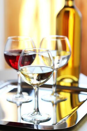 responsibly: Glasses of white and red  wine