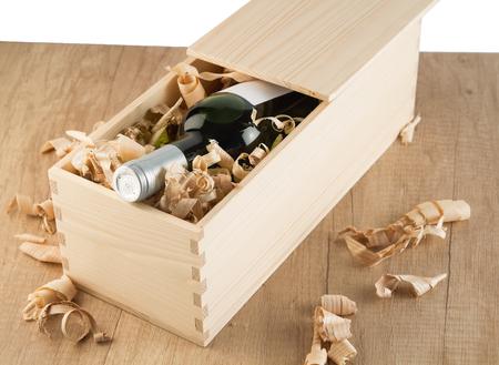 Wine bottle in wooden box