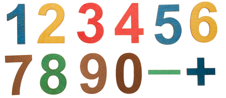 Colorful wooden numbers isolated on white background, zero to nine