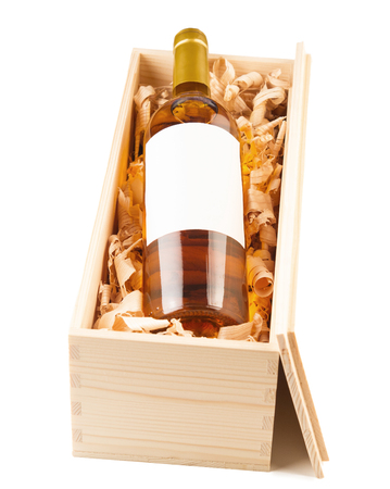 cabarnet: Wine bottle in wooden box isolated on white