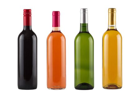 closed corks: Set of red, rose and white wine bottles