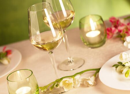 responsibly: Two glasses of white wine