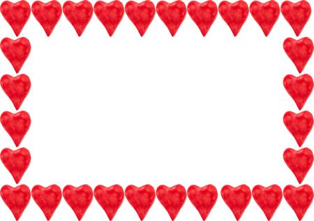 Plastilin rote herzförmige Rahmen Standard-Bild - 60564926