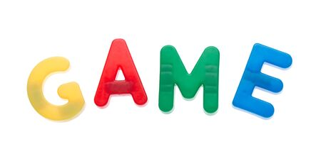 stuff toy: Letter magnets GAME isolated on white Stock Photo
