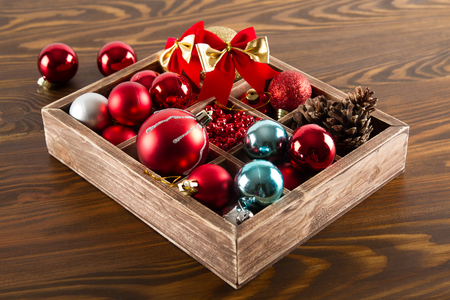 stock photo wooden box with colorful ball for christmas decoration - Wooden Box Christmas Decorations