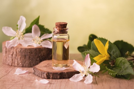 Essential oil and flowers Stock Photo - 104494859