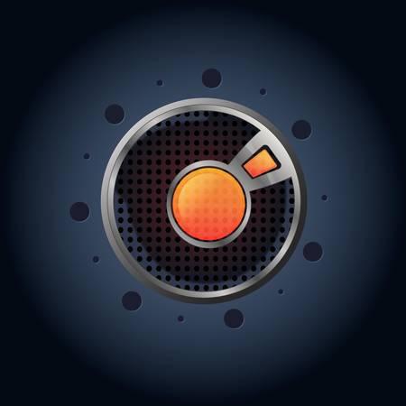 chrome button: Vector Lava button, realism icon
