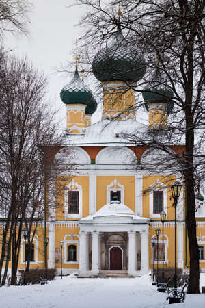 Transfiguration Cathedral in Uglich Kremlin, Russia. Winter. Gold ring. Track to the old Russian cathedral.