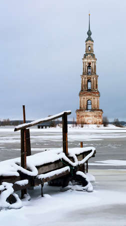Kalyazin bell tower cathedral St. Nicholas Russian Stock Photo