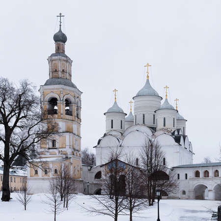 Spaso-Priluckiy monastery in winter. Spassky Cathedral. Bell Tower and Savior Cathedral view. Panorama. Vologda. Travel north Russia. Ancient architecture. Saviour Priluki Monastery in winter frosty day