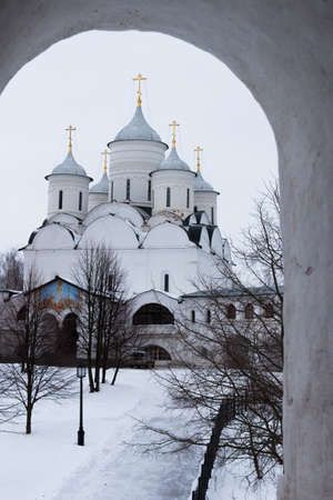 spassky: Spaso-Priluckiy monastery. Spassky Cathedral. Savior Cathedral view. Vologda. Travel north Russia. Ancient architecture. Saviour Priluki Monastery in winter frosty day Stock Photo