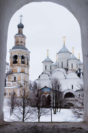 majesty: Spaso-Priluckiy monastery. Spassky Cathedral. Bell Tower and Savior Cathedral view. Vologda. Travel north Russia. Ancient architecture. Saviour Priluki Monastery in winter frosty day Stock Photo
