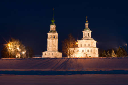 frozen river: Night winter view of historical centre of Veliky Ustyug, Russia. Church of St. Nicholas Gostunskii. View from the frozen river Sukhona. Travel to the North of Russia.