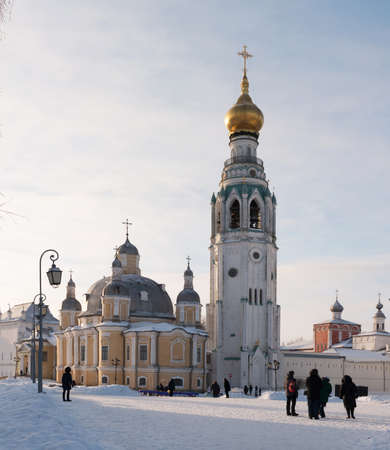 Vologda kremlin. Journey to the North of Russia. Resurrection Cathedral and bell tower, Vologda Kremlin, Russia. Photo in frosty sunny winter day. HD. Stock Photo