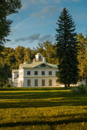 Serednikovo manor in classical style in the Moscow region. Outbuilding of the main building