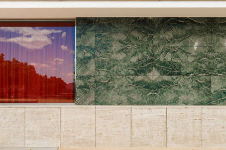 combination: Architectural detail. Architectural composition. Plane glass, marble and sandstone