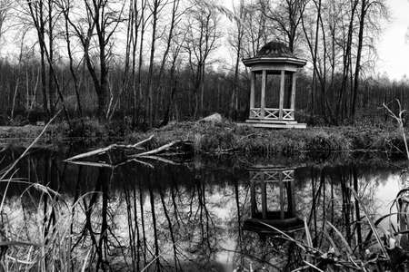 Wooden pavilion on the shore of the pond. Autumn landscape with a pond and an old Russian wooden gazebo. Black and white landscape.