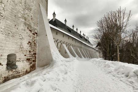 Savvino-Storozhevsky monastery in Zvenigorod in winter day. Moscow region. Walls and towers of the monastery.