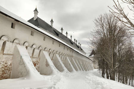 Savvino-Storozhevsky monastery in Zvenigorod in winter day. Moscow region. Walls and towers of the monastery.