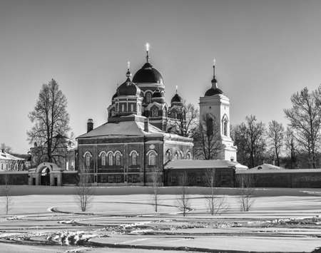 Spaso-Borodino Convent. Orthodox monastery on the Borodino field. Cathedral of the Icon of the Mother of God. Winter landscape with an Orthodox monastery. Russia, Moscow region, Mozhaysk district.