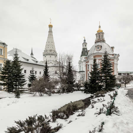 Church of the Smolensk Icon of the Mother of God. Holy Trinity St. Sergius Lavra in winter. Monastery of the Russian Orthodox Church. Sergiev Posad. Russia. Stock Photo