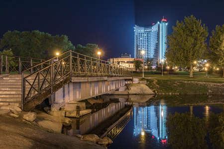 Minsk, Belarus - May 2, 2018: Hotel Belarus in Central Part of Minsk city at spring. Soviet architecture. Minsk, Belarus.