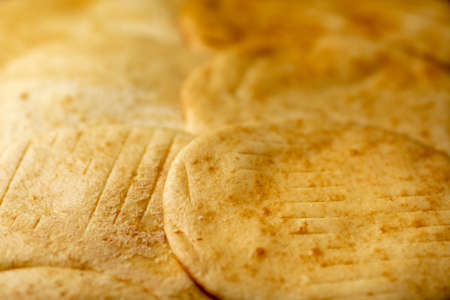 Appetizing, sweet, delicious cakes. Fresh hot pastries. Pancakes, delicious tortillas. Bread cakes. Stack of cake layers Stok Fotoğraf