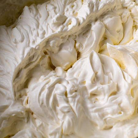 Cake cream. Whipped cream. Cream texture. Buttercream texture on top Imagens
