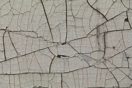 Multilayer paint. Peeling paint on a wooden surface. Cracked old paint on a wooden wall. Texture of the old cracked paint