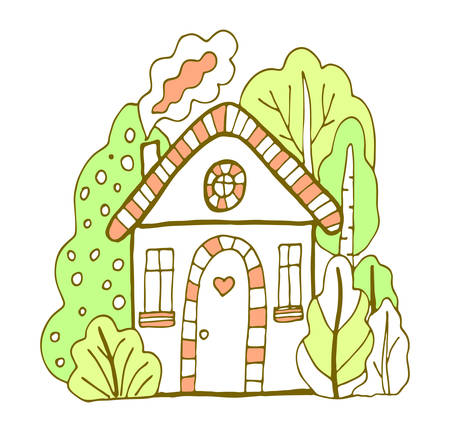 Green and orange cute bulding line art vector illustration. Hand drawn doodles fairy house in the village.