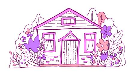 Purple and pink cute bulding line art vector illustration. Hand drawn doodles fairy house in the village. Ilustracja