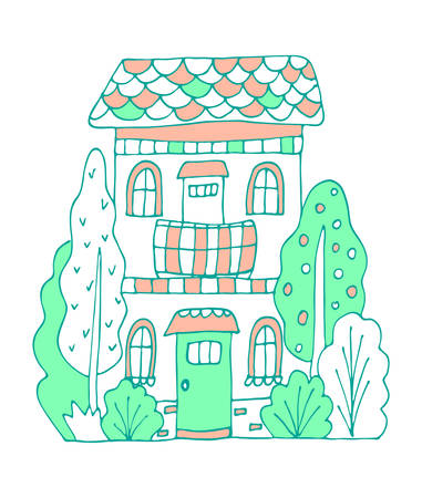 Green and pink cute bulding line art vector illustration. Hand drawn doodles fairy house in the village.