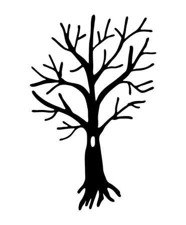 Black tree doodles isolated on white background. Halloween tree vector illustration.