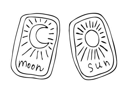 Vector graphic illustration isolated on whitebackground. Black outline tarot cards with sun and moon.  イラスト・ベクター素材