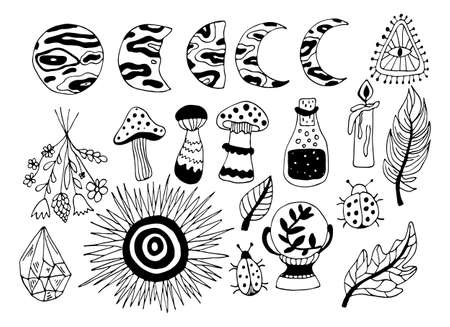 Vector magic illustrations. Hand drawn doodles sketch magician set. Witchcraft symbols - crystal, feather, candle, potion, magic ball, moon and sun. Иллюстрация